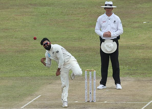Ajaz Patel in action for New Zealand