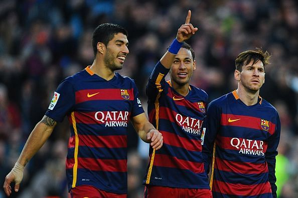 Suarez, Neymar and Messi in action