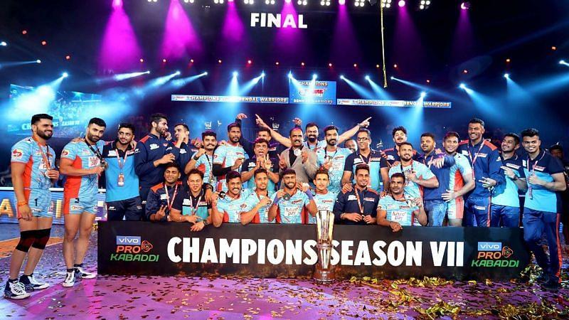 Bengal Warriors after winning their maiden PKL trophy in Season 7
