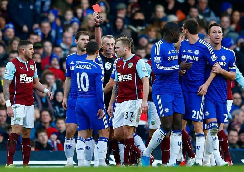 Chelsea fans were furious with Martin Atkinson's performance in their 1-1 draw with Burnley