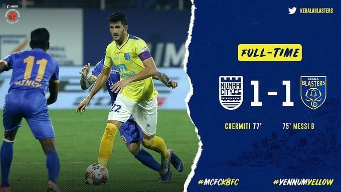 Kerala played out a 1-1 draw against Mumbai City FC
