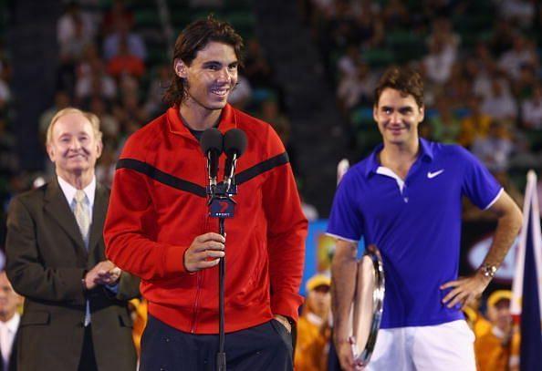 2009 Australian Open: Rod Laver(L), Rafael Nadal and Roger Federer(R)