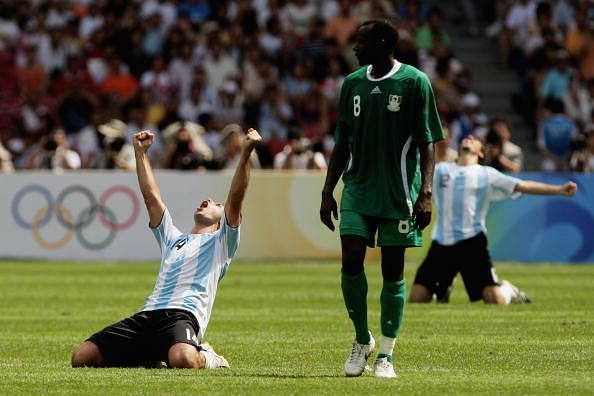 Argentina celebrates victory against Nigeria in the final of the 2008 Olympic Men