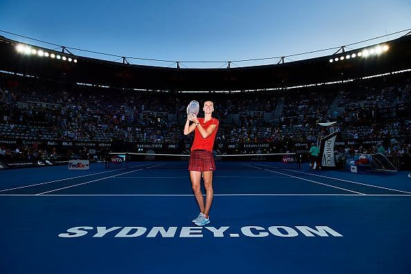 Petra Kvitova with the trophy of the now defunct Sydney International