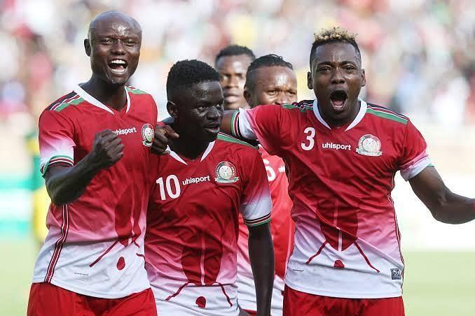 Harambee Stars players celebrating