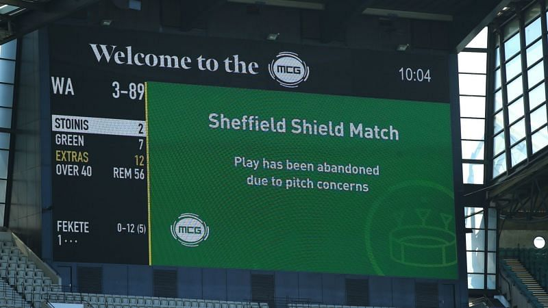 A dangerous pitch forces the cancellation of a Sheffield Shield match at the MCG