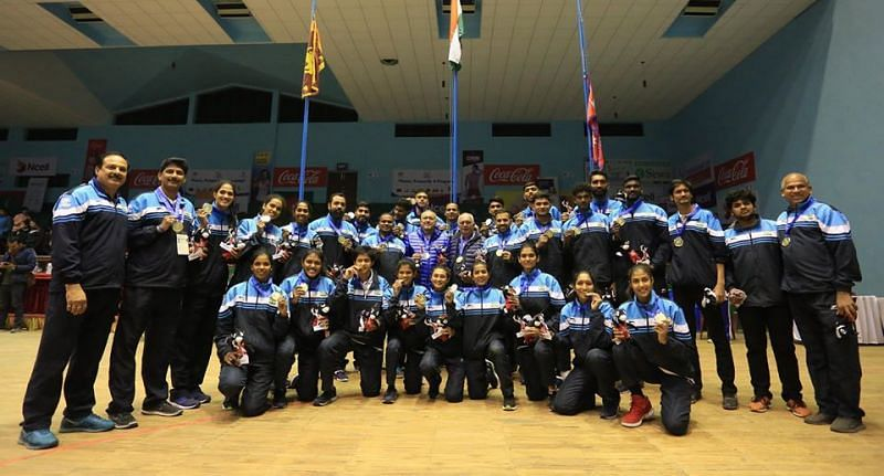 The victorious Indian basketball team