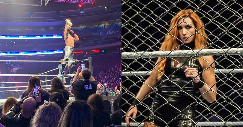 Andrade with the US Title/ Becky Lynch inside the Steel Cage.