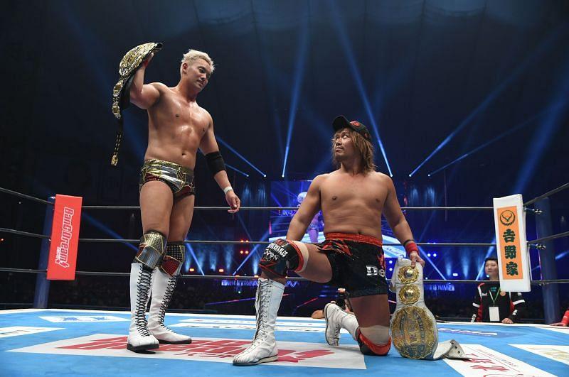 Okada and Naito at Wrestle Kingdom 14