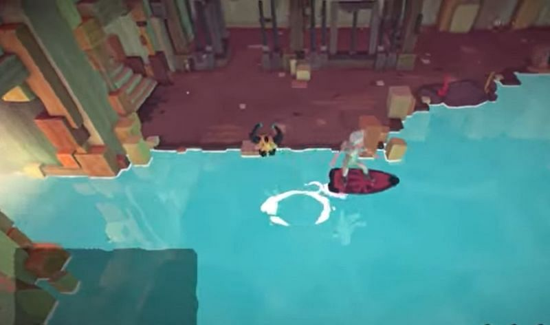 Use the surfboard to exit the Windward Fort