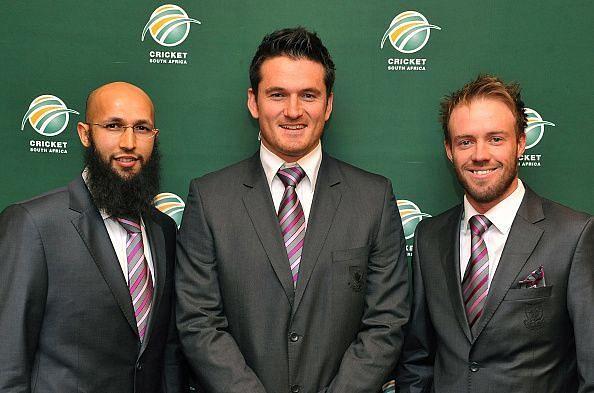 Hashim Amla (left), Graeme Smith (middle), AB de Villiers (right)