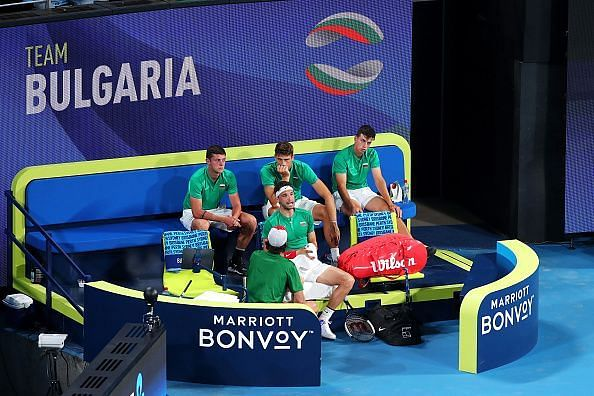 The presence of Christian Groh in the dugout has really helped ease the pressure on Dimitrov.