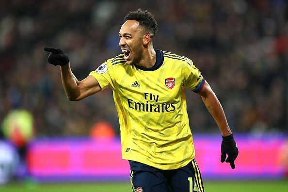 Aubameyang was sent off for a challenge in the second half
