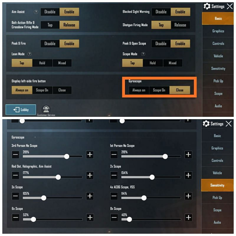 Enable gyroscope in settings and adjust the sensitivity
