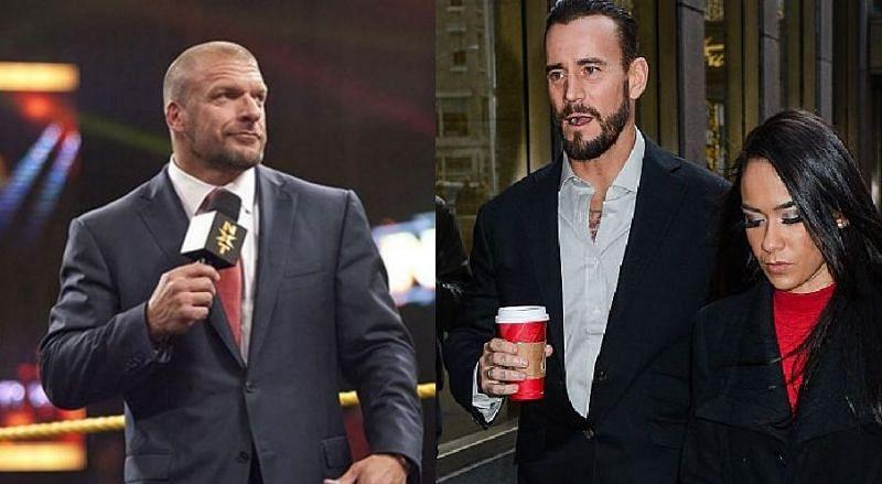 Triple H, CM Punk, and AJ Lee