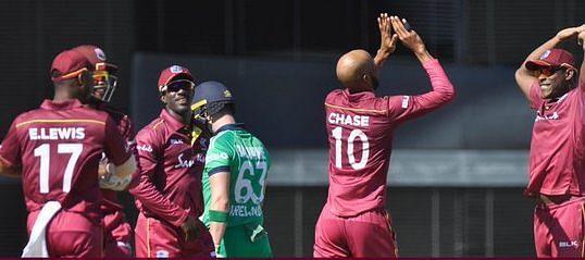 विकेट लेने के बाद विंडीज खिलाड़ी
