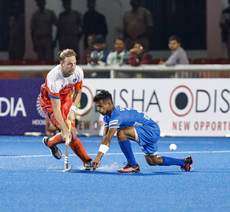 Action during the second match between India and Netherlands