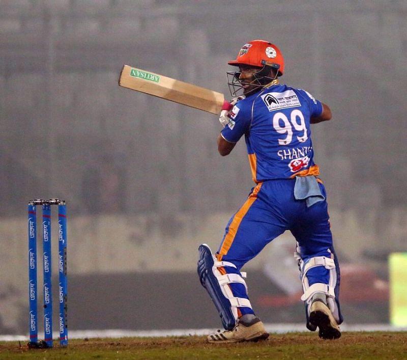 Najmul Hossain Shanto scored an unbeaten century against Dhaka Platoon