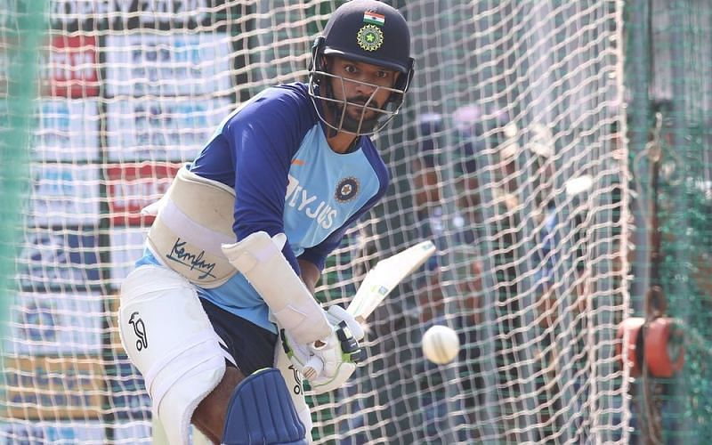 Shikhar Dhawan hits the nets before the second ODI in Rajkot