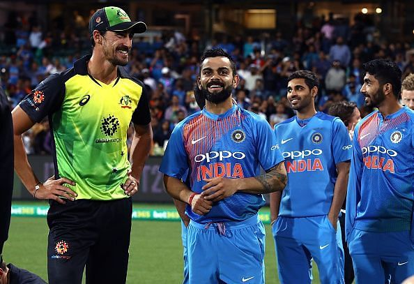 Mitchell Starc (left) and Virat Kohli (right)