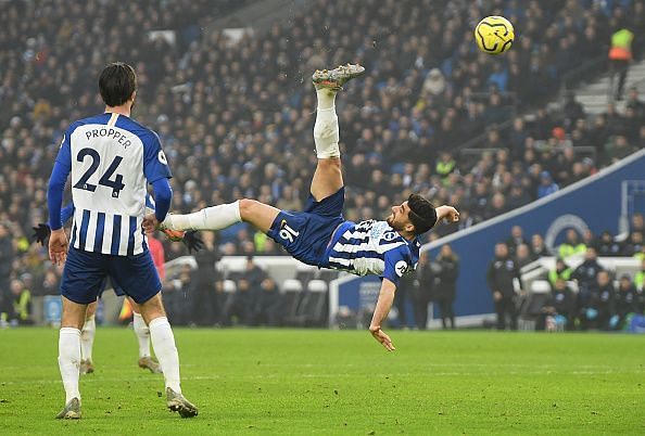 Brighton & Hove Albion salvaged a point through this worldie from Alireza Jahanbaksh