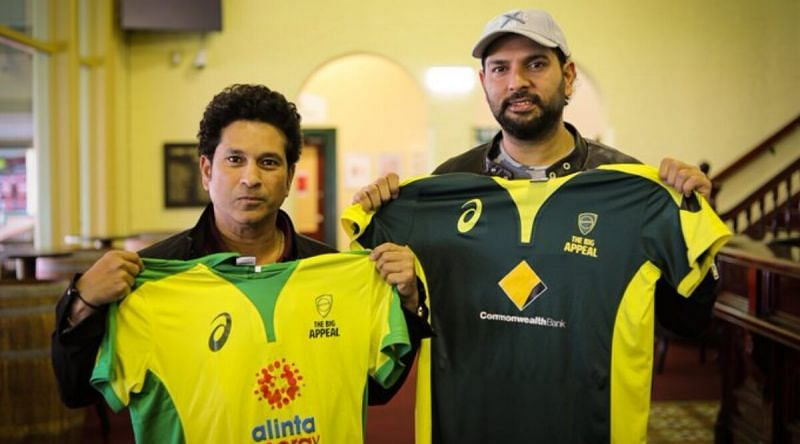 Yuvraj and Sachin at the SCG earlier today