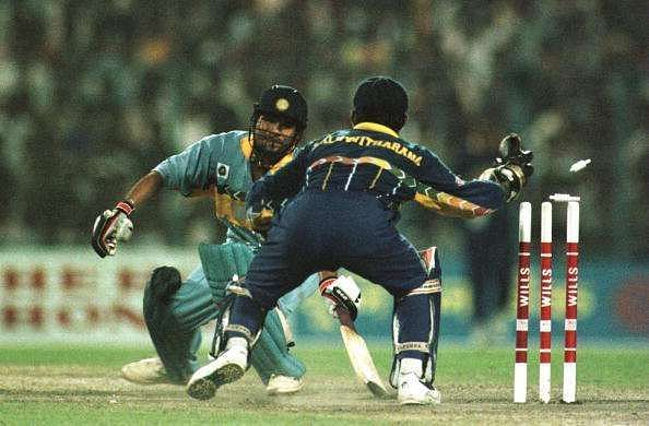 Sachin Tendulkar (and India) being stumped in the 1996 World Cup semi-finals at Eden Gardens