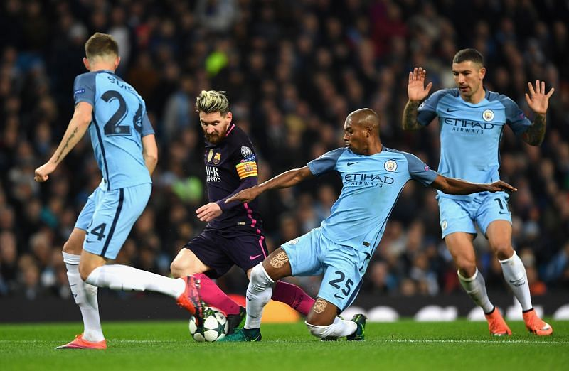 Manchester City in Champions League eliminator against Barcelona at the Etihad