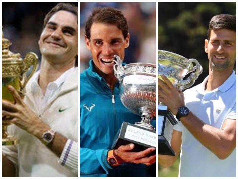 F ederer (left), Nadal, and Djokovic hoisting aloft their respective 17th Grand Slam titles