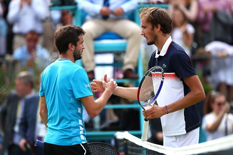 Fever-Tree Championships- Gilles Simon(L) and Daniil Medvedev