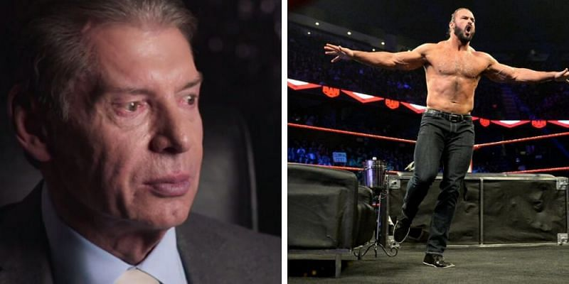 Vince McMahon (left); Drew McIntyre (right)