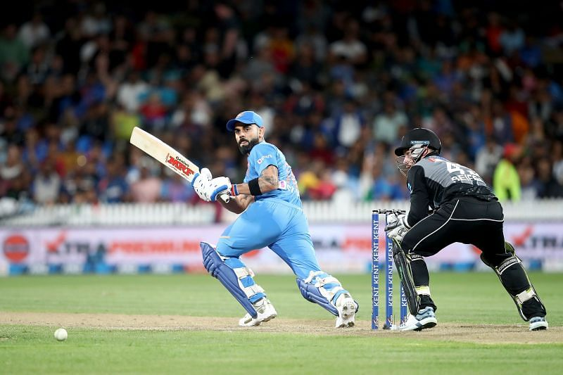 Virat Kohli (left) playing a shot in the recently concluded limited-overs series
