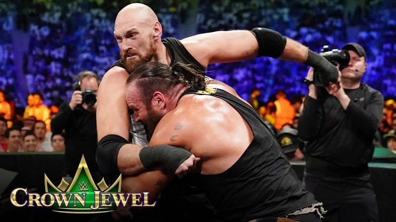 Tyson Fury and Braun Strowman at Crown Jewel in 2019