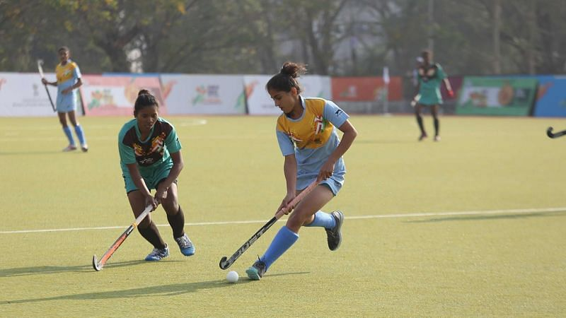 Action from the hockey competition at the Khelo India Games