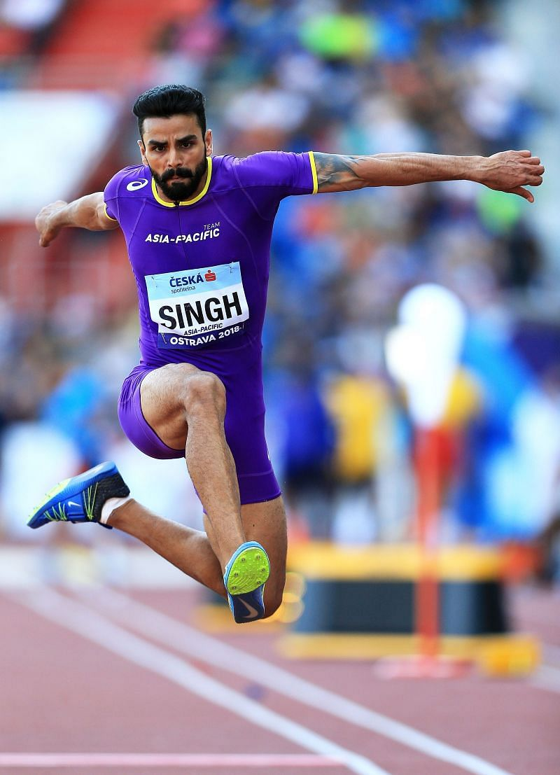 Arpinder Singh in action during the IAAF Continental Cup