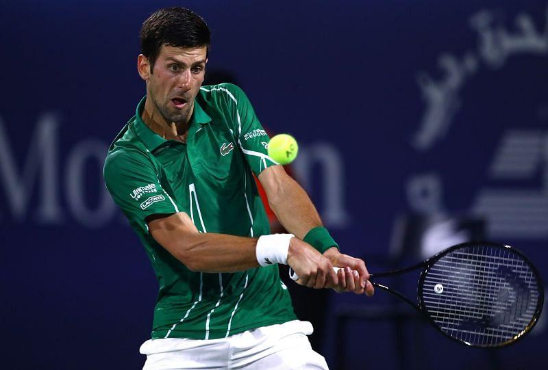 Novak Djokovic in action at the Dubai Duty Free Tennis Championships