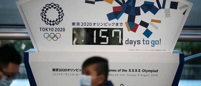 People with face masks walk ahead of an Olympic Games countdown setup