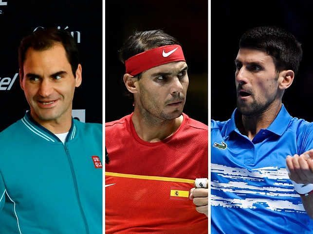 Federer, Nadal, and Djokovic (from left to right)