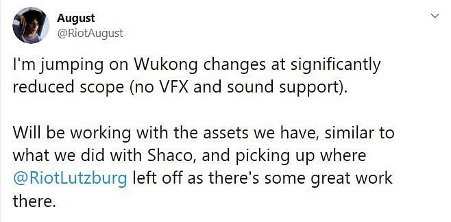 The Wukong rework will be akin to that of Shaco