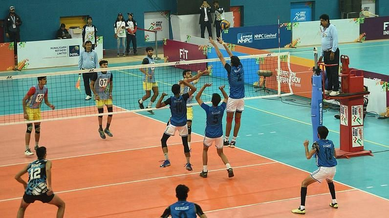 A volleyball match during the KIYG 2020 Volleyball event