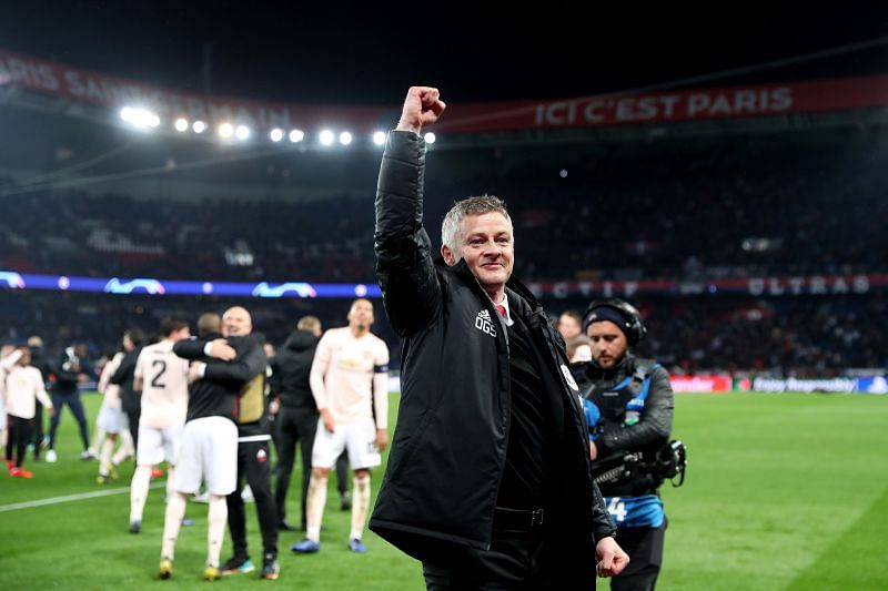 Ole Gunnar Solskjær celebrates the defining victory over Paris Saint-Germain in March 2019
