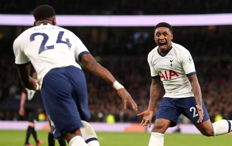 Steven Bergwijn (R) after scoring against Manchester City in his debut for Tottenham Hotspur
