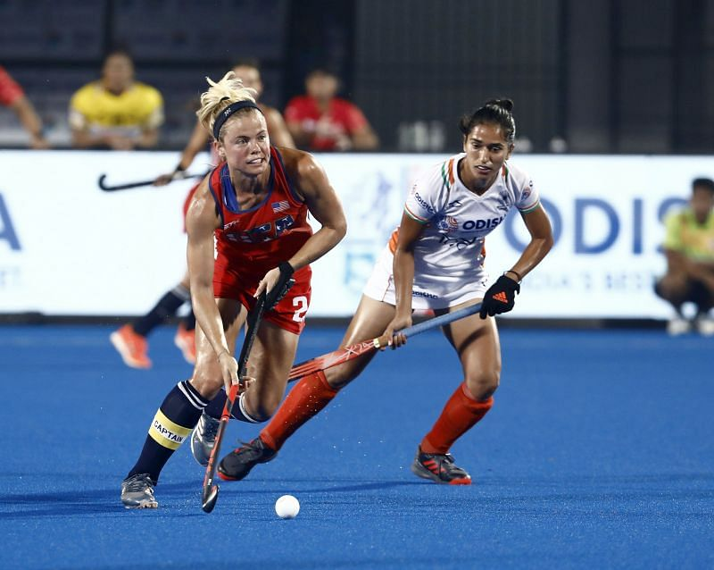 Monika in action against USA in Olympic qualifiers