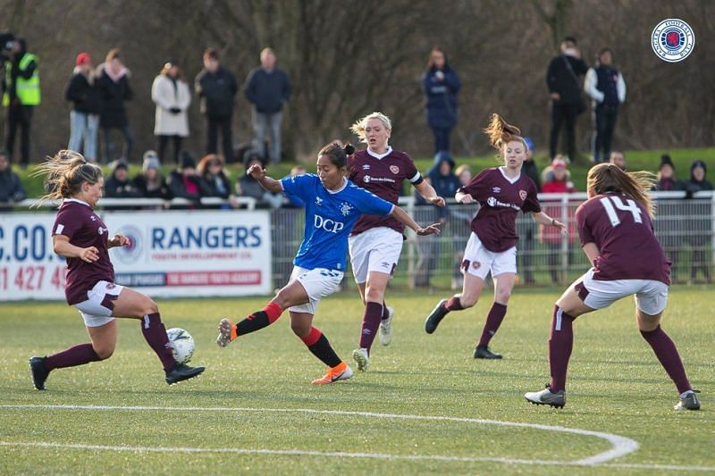 Bala Devi in action against Hearts of Midlothian FC
