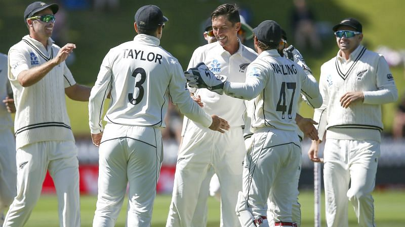 New Zealand celebrate a wicket against India