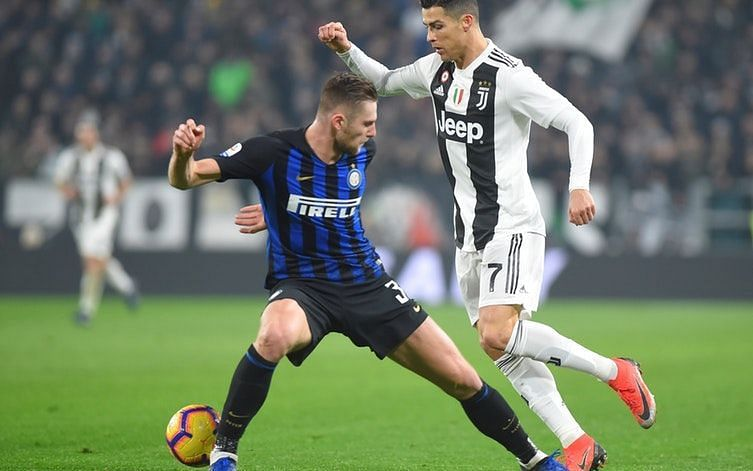 Cristiano Ronaldo in action against Inter Milan