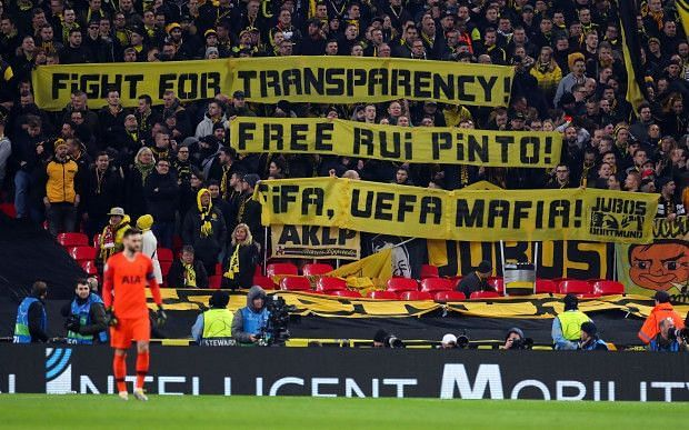 Dortmund fans show support to the imprisoned hacker.