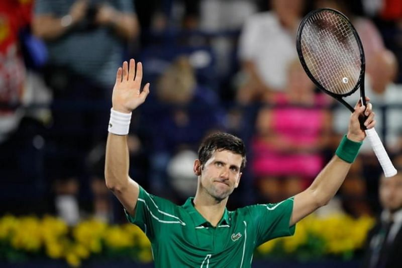 Djokovic acknowledges the crowd after beating Kohlschreiber in the second round in Dubai