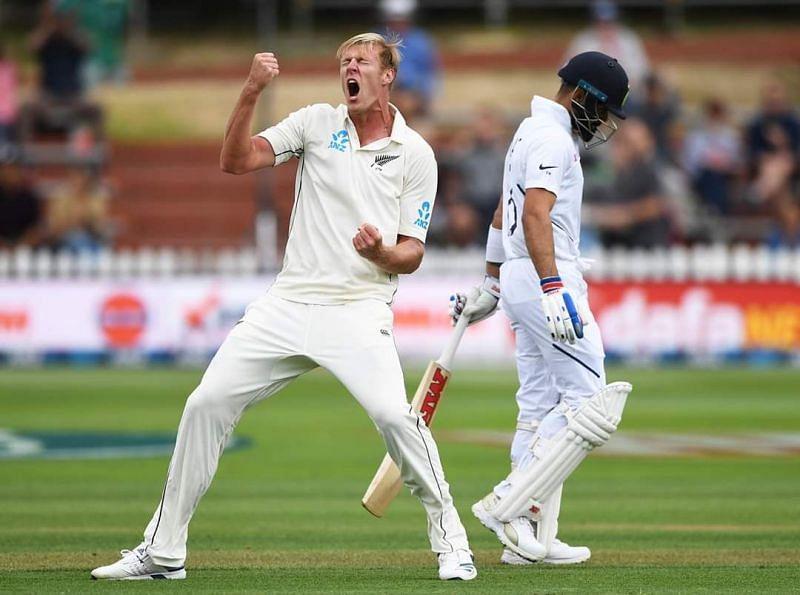 Kyle Jamieson celebrating the wicket of Virat Kohli