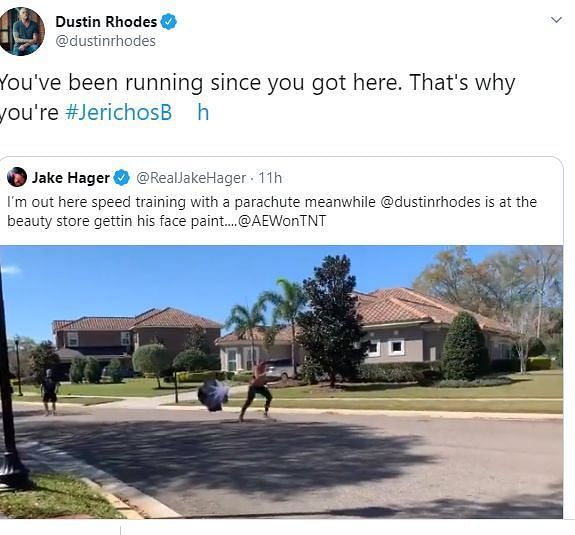 Rhodes not holding back (Pic Source: Dustin Rhodes/Jake Hager Twitter)